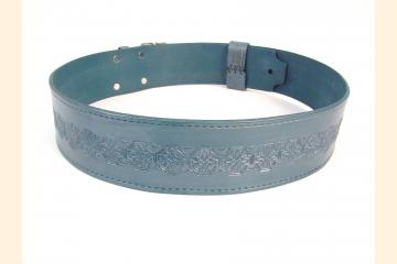 Kilt Belt Double Buckle Blue with Round Celtic Cross Knot