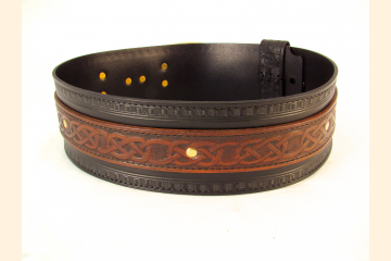 Kilt Belt Double Layer Leather Belt Hand Tooled with Brass Buckle