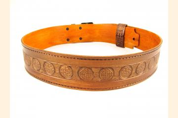 Kilt Belt Double Buckle, Copper Celtic Knot Belt, For the Kilted Warrior
