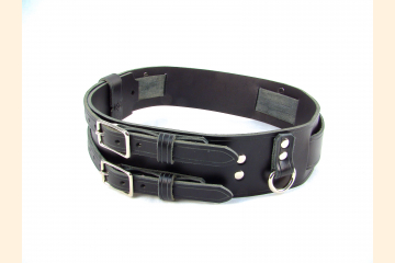 Kilt Belt Double Buckle Belt Black Leather Storage Loop D Ring Combo Belt