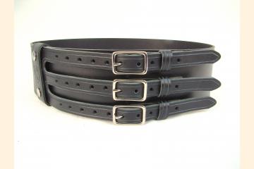 Kilt Belt Black Triple Buckle Belt by Holy Heck USA