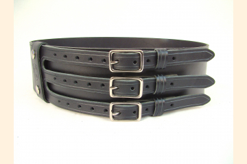 Kilt Belt Black Triple Buckle Belt by Holy Heck USA