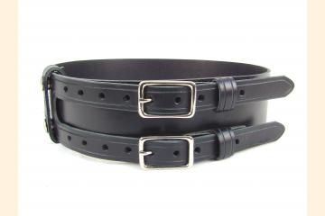 Kilt Belt Double Buckle Black with Nickel Hardware