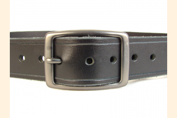 Belt Black Belt Leather Belt 1 1/4 inch Gun Metal Buckle Belt