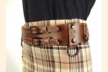 Kilt Belt Double Buckle Brown Storage Loop D Ring Combo Belt