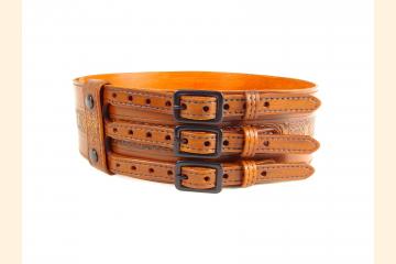 Kilt Belt Triple Buckle Celtic Knot Wolf Head Tan Kilt Belt
