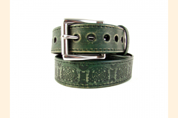 Belt Leather Green Celtic Knot Belt 1 1/2 inch Stainless Steel Buckle