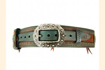 Kilt Belt Celtic Western Leather Kilt Belt Double Layer Kilt Belt Teal and Copper Kilt Belt