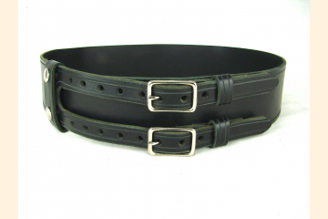 Kilt Belt Double Buckle Black Leather with Nickel, Black or Brass Hardware