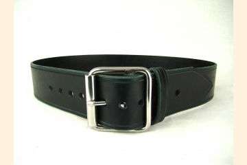 Belt Black Leather Belt Wide Belt Kilt Belt Double Bar Buckle Stainless Steel
