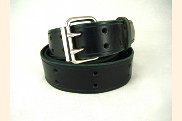 Black Leather Belt Double Prong Buckle Belt for Men Belt for Women