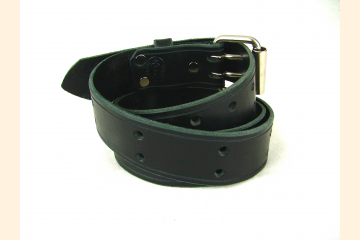Black Leather Belt with Double Holes, 1 1/2 inch wide, Retro Rocker Belt for Pants and Jeans, Birthday Gift for Men and Women,