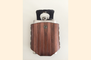 Hip Flask Holder with Steampunk Stripes, Fits Wide Belts, Whiskey Birthday Gift for Festival