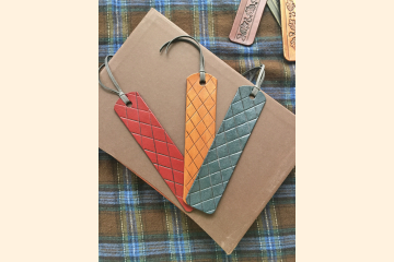 Leather Bookmarks Argyle Pattern - Book Lover Gift - Literary Gift - Stocking Stuffer - Christmas Gift